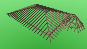 Dachkonstruktion mit Turm